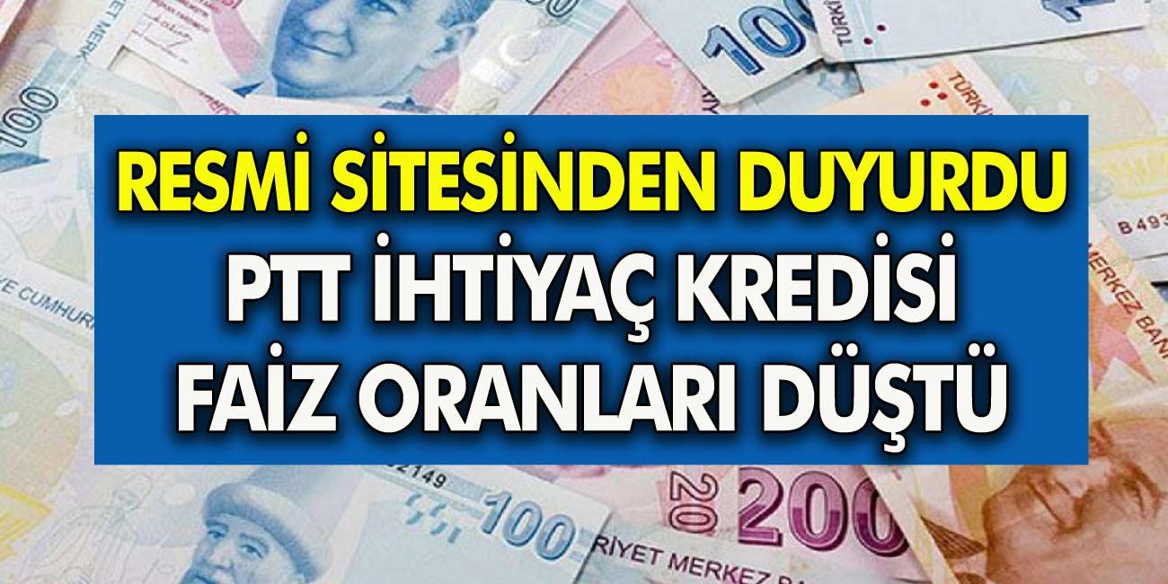 PTT Resmi Siteden Duyurdu: İhtiyaç Kredisi Faizleri Düşürüldü! İşte Eylül ayı PTT Kredisi maliyetinin Tüm Detayları...