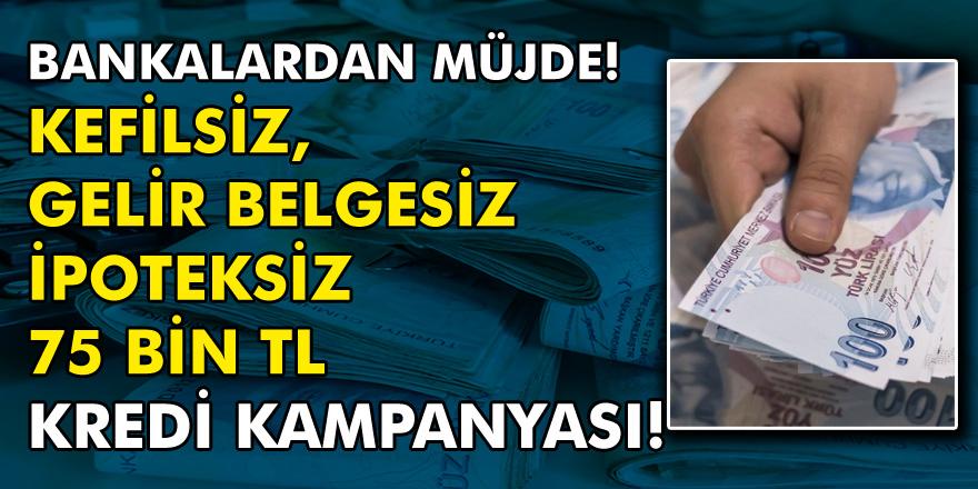 Bankalardan Müjde! Gelir Belgesiz, Kefilsiz İpoteksiz 75 Bin TL Kredi Kampanyası...