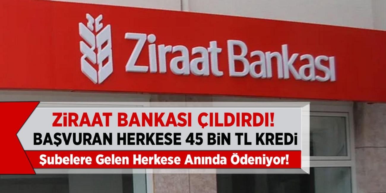 Ziraat Bankası çıldırdı! Başvuran herkse anında 45 Bin TL anında Kredi! Şubelere Gelen Herkese Anında Ödeniyor...