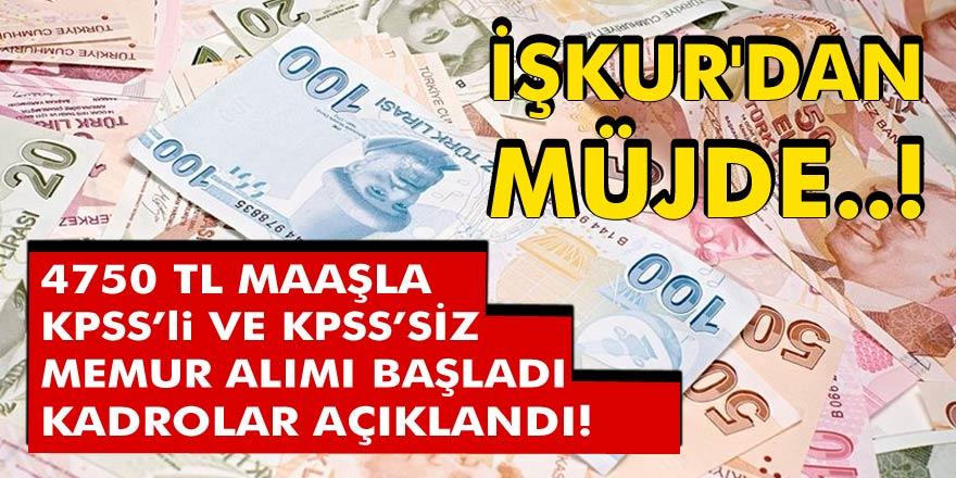 İŞKUR'dan müjde! 4750 TL maaşla KPSS'li ve KPSS'siz belediye memur alımı başladı… Kadrolar ve kontenjanlar açıklandı…