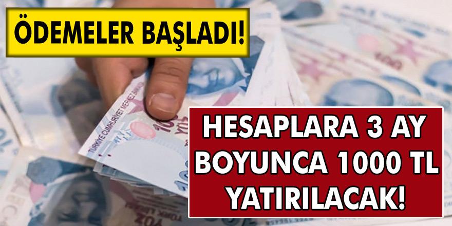 Tüm Vatandaşların Hesabına 3 ay boyunca tam 1000 TL ödeme yatırılacak! Ödemeler başladı…
